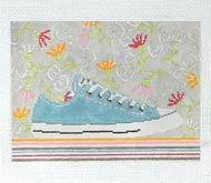 Aqua sneaker and funky flowers